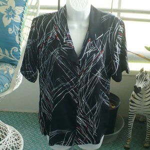 ❤️Sabrina Blouse Black - Gray & Red Lines Medium